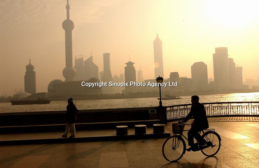 The skyline of the financial district of Pudong in Shanghai, China..