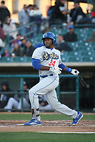 Ibandel Isabel (34) of the Rancho Cucamonga Quakes bats against the Lancaster JetHawks at The Hanger on April 20, 2017 in Lancaster, California. Lancaster defeated Rancho Cucamonga 4-0. (Larry Goren/Four Seam Images)