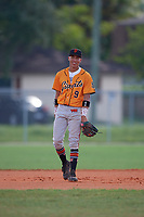 Edwin Arroyo (9) during the WWBA World Championship at Terry Park on October 11, 2020 in Fort Myers, Florida.  Edwin Arroyo, a resident of Arecibo, Puerto Rico who attends Arecibo Baseball Academy, is committed to Florida State.  (Mike Janes/Four Seam Images)