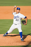 Starting pitcher Willian Avinizar #33 of the Burlington Royals in action against the Kernersville Bulldogs in an exhibition game at Burlington Athletic Stadium June20, 2010, in Burlington, North Carolina.  Photo by Brian Westerholt / Four Seam Images