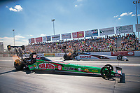 Sep 23, 2018; Madison, IL, USA; NHRA top fuel driver Leah Pritchett (near) races alongside Steve Torrence during the Midwest Nationals at Gateway Motorsports Park. Mandatory Credit: Mark J. Rebilas-USA TODAY Sports