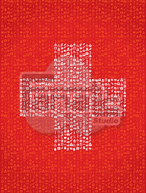 Illustration of plus symbol made of medical equipment on red background
