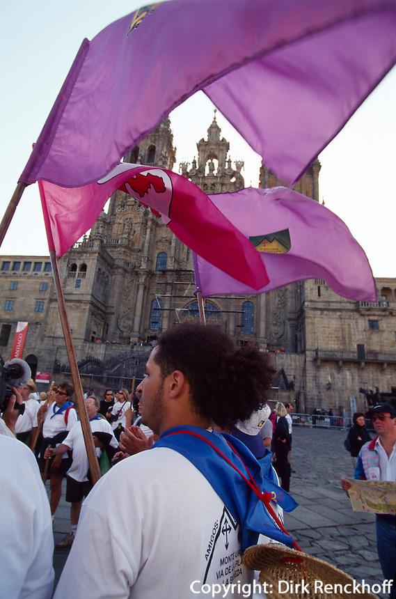 Santiago de Compostella, Pilger vor KathedraleSantiago de Compostella, Galicien, Spanien, Unesco-Weltkulturerbe