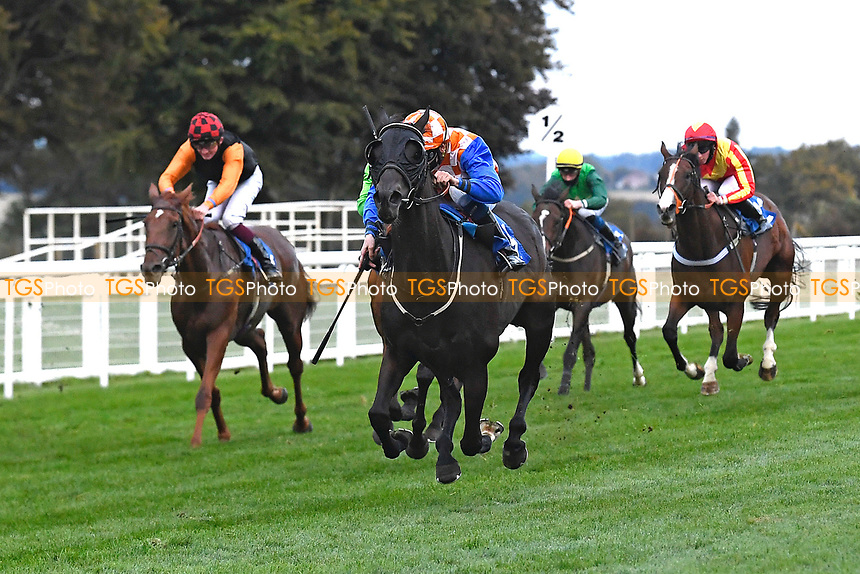 Winner of The Racing TV Handicap Stakes Mere Anarchy (Orange/white cap) ridden by Kieran Shoemark and trained by Robert Stephens  during Horse Racing at Salisbury Racecourse on 11th September 2020