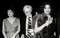 Minelli Warhol Jagger6879.JPG<br /> New York, NY 1978 FILE PHOTO<br /> Liza Minelli Andy Warhol Bianca Jagger<br /> Studio 54<br /> Digital photo by Adam Scull-PHOTOlink.net<br /> ONE TIME REPRODUCTION RIGHTS ONLY<br /> NO WEBSITE USE WITHOUT AGREEMENT<br /> 718-487-4334-OFFICE  718-374-3733-FAX