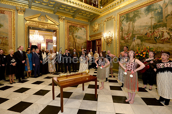 12 March 2018 - Camilla Duchess of Cornwall, Prince William Duke of Cambridge, Prince Charles Prince of Wales and Commonwealth Secretary General Patricia Scotland, Baroness Scotland of Asthal at the 2018 Commonwealth Day Reception at Marlborough House in London on Commonwealth Day. Photo Credit: ALPR/AdMedia