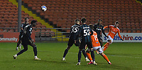 Blackpool's Ethan Robson scores his team's 3rd goal<br /> <br /> Photographer Dave Howarth/CameraSport<br /> <br /> EFL Trophy - Northern Section - Group G - Blackpool v Leeds United U21 - Wednesday 11th November 2020 - Bloomfield Road - Blackpool<br />  <br /> World Copyright © 2020 CameraSport. All rights reserved. 43 Linden Ave. Countesthorpe. Leicester. England. LE8 5PG - Tel: +44 (0) 116 277 4147 - admin@camerasport.com - www.camerasport.com