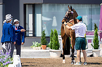 AUS-Shane Rose presents Virgil during the Eventing 1st Horse Inspection. Tokyo 2020 Olympic Games. Thursday 29 July 2021. Copyright Photo: Libby Law Photography