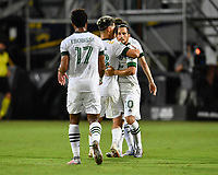LAKE BUENA VISTA, FL - AUGUST 01: Sebastián Blanco #10 of the Portland Timbers celebrates his goal with Pablo Bonilla #28 of the Portland Timbers during a game between Portland Timbers and New York City FC at ESPN Wide World of Sports on August 01, 2020 in Lake Buena Vista, Florida.