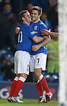Goalscorers David Templeton and Andy Little celebrate together