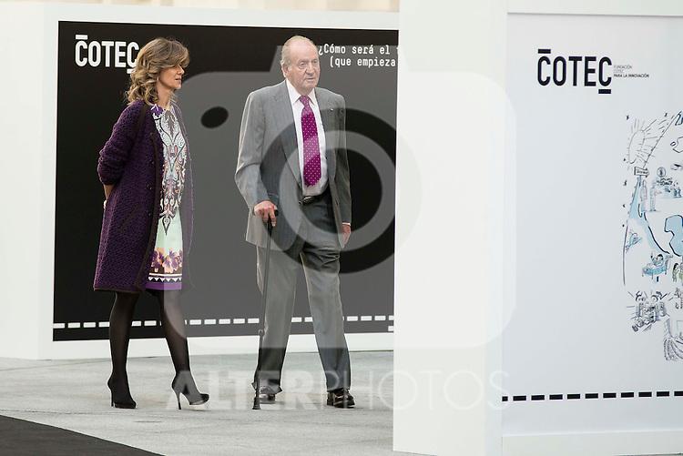 President of COTEC, Cristina Garmendia and King Juan Carlos during the main event of COTEC at Crystal Gallery of the Cibeles Palace in Madrid, Spain, November 23, 2015. <br /> (ALTERPHOTOS/BorjaB.Hojas)