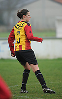 20160116 - ZULTE , BELGIUM : KV Mechelen's Laura Baetens  pictured during a soccer match between the women teams of Famkes Merkem B and Yellow-Red KV Mechelen  , during the matchday in the Tirth League - Derde Nationale season, Saturday 13 February 2016 . PHOTO DIRK VUYLSTEKE
