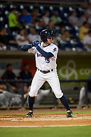 Pensacola Blue Wahoos Joe Cronin (15) at bat during a Southern League game against the Mobile BayBears on July 25, 2019 at Blue Wahoos Stadium in Pensacola, Florida.  Pensacola defeated Mobile 3-2 in the second game of a doubleheader.  (Mike Janes/Four Seam Images)