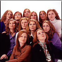 Group of red haired women looking up<br />