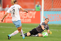 Sky Blue FC goalkeeper Jenni Branam (23) comes off her line to deny Marian Dalmy (2) of the Chicago Red Stars a scoring opportunity during a Women's Professional Soccer (WPS) match at Yurcak Field in Piscataway, NJ, on August 01, 2010.