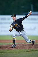 West Virginia Black Bears relief pitcher Blake Weiman (34) delivers a warmup pitch during a game against the Batavia Muckdogs on June 26, 2017 at Dwyer Stadium in Batavia, New York.  Batavia defeated West Virginia 1-0 in ten innings.  (Mike Janes/Four Seam Images)