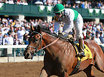 October 24, 2014:Spring Quality and jockey Rosie Napravnik win the 4th race, Maiden for 2 year olds at Keeneland Racecourse.  Candice Chavez/ESW/CSM