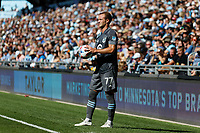 ST. PAUL, MN - AUGUST 21: Chase Gasper #77 of Minnesota United FC prepares for a throw in during a game between Sporting Kansas City and Minnesota United FC at Allianz Field on August 21, 2021 in St. Paul, Minnesota.