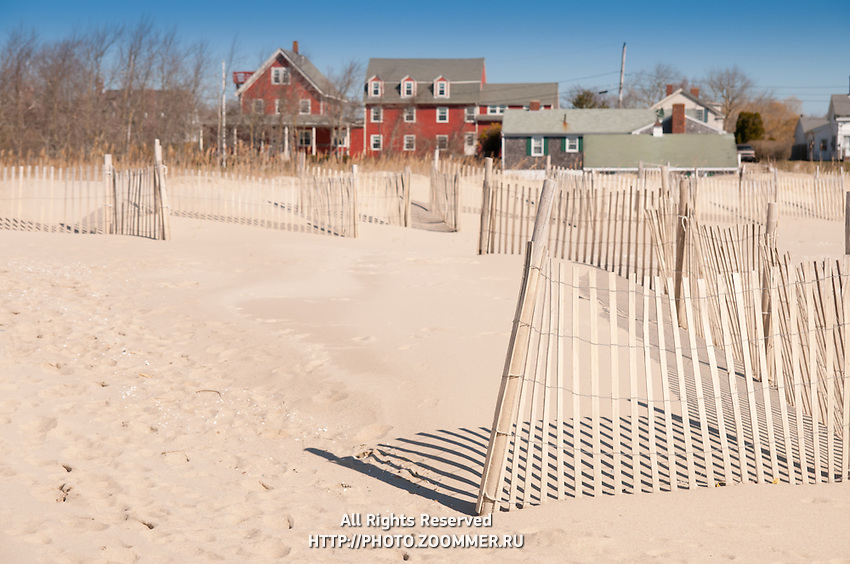Beach fences in Chatham lighthouse beach, Cape Cod