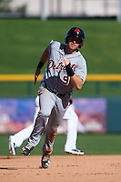 Scottsdale Scorpions outfielder Mike Gerber (9) running the bases during an Arizona Fall League game against the Mesa Solar Sox on October 19, 2015 at Sloan Park in Mesa, Arizona.  Scottsdale defeated Mesa 10-6.  (Mike Janes/Four Seam Images)