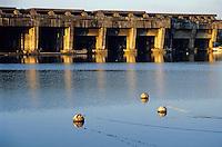 Former submarine base at sunset, Gironde, Bordeaux, France.