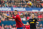 Club Atletico Osasuna's Tano Bonnin and Atletico de Madrid's Kevin Gameiro   during the match of La Liga, between Club Altetico Osasuna and Atletico de Madrid at Sadar Stadium, Pamplona , Spain. November 27, 2016. (ALTERPHOTOS/Rodrigo Jimenez)