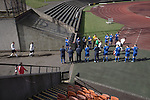Edinburgh City v Spartans, 11/04/2015. Commonwealth Stadium, Scottish Lowland League. The home team are given a guard of honour for winning the league at the Commonwealth Stadium at Meadowbank before the Scottish Lowland League match between Edinburgh City and city rivals Spartans, which was won by the hosts by 2-0. Edinburgh City were the 2014-15 league champions and progressed to a play-off to decide whether there would be a club promoted to the Scottish League for the first time in its history. The Commonwealth Stadium hosted Scottish League matches between 1974-95 when Meadowbank Thistle played there. Photo by Colin McPherson.