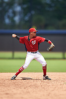 GCL Nationals second baseman Anthony Gomez (3) throws to first base during a Gulf Coast League game against the GCL Astros on August 9, 2019 at FITTEAM Ballpark of the Palm Beaches training complex in Palm Beach, Florida.  GCL Nationals defeated the GCL Astros 8-2.  (Mike Janes/Four Seam Images)