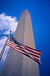 Washington Monument and Stars and stripes flag, Washington DC