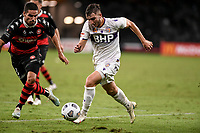 19th March 2021; Bankwest Stadium, Parramatta, New South Wales, Australia; A League Football, Western Sydney Wanderers versus Perth Glory; Carlo Armiento of Perth Glory goes past Tate Russell of Western Sydney Wanderers
