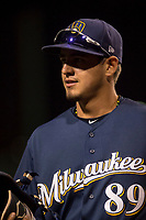 Milwaukee Brewers shortstop Antonio Pinero (89) during a Minor League Spring Training game against the Los Angeles Angels at Tempe Diablo Stadium on March 29, 2018 in Tempe, Arizona. (Zachary Lucy/Four Seam Images)