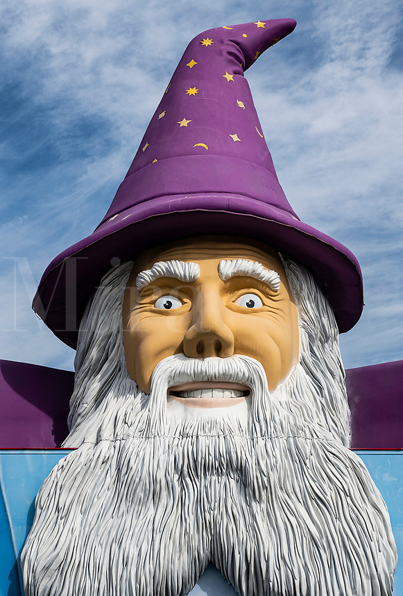 Giant figure of Merlin the Magician.