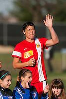 Western New York Flash forward Abby Wambach (20). Sky Blue FC defeated the Western New York Flash 1-0 during a National Women's Soccer League (NWSL) match at Yurcak Field in Piscataway, NJ, on April 14, 2013.