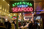 Seattle, Pike Place Farmer's Market, Athenian Inn, Historical District, Washington State, Pacific Northwest, USA, central arcade