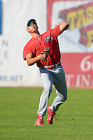 Williamsport Crosscutters outfielder Dylan Cozens #18 during practice before a game against the Jamestown Jammers on June 20, 2013 at Russell Diethrick Park in Jamestown, New York.  Jamestown defeated Williamsport 12-6.  (Mike Janes/Four Seam Images)