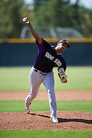 Colorado Rockies pitcher Salvador Justo (26) during an Instructional League game against the San Francisco Giants on October 8, 2016 at the Giants Baseball Complex in Scottsdale, Arizona.  (Mike Janes/Four Seam Images)