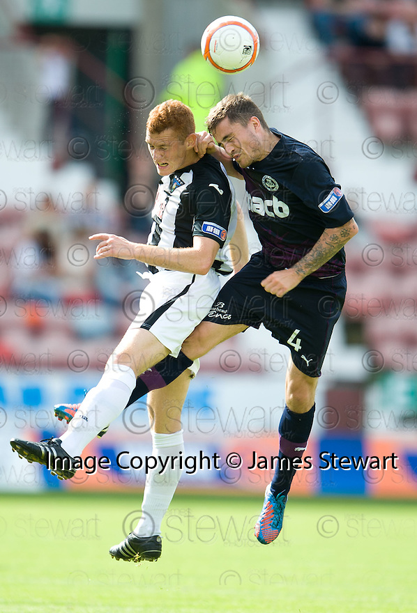Dunfermline's Ryan Thomson and Partick's Paul Paton challenge for the ball.