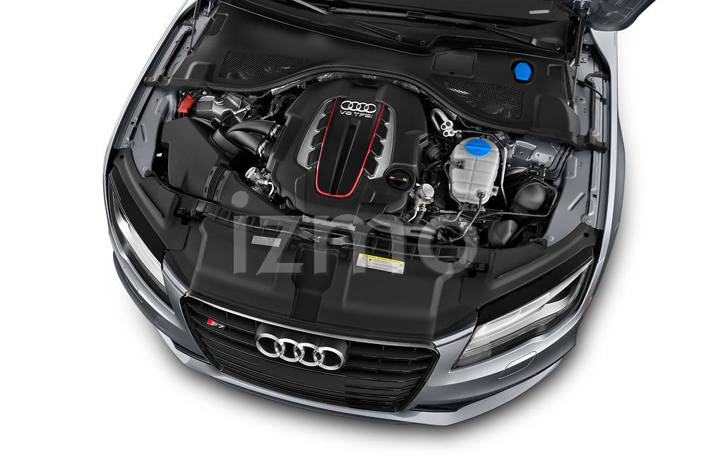 Car stock 2015 Audi S7 Base 4 Door Sedan engine high angle detail view