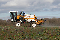 9.3.2021 Spraying oilseed rape in Rutland <br /> ©Tim Scrivener Photographer 07850 303986<br />      ....Covering Agriculture In The UK....