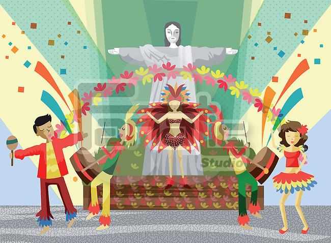 Illustrative image of dancers at Rio Carnival, Rio de Janeiro, Brazil