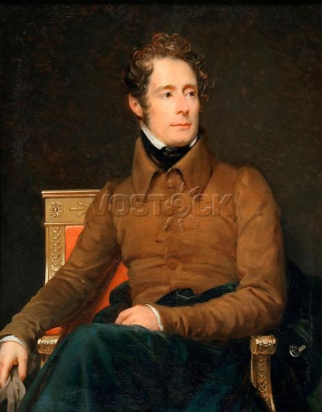 Portrait of Alphonse-Marie-Louis de Prat de Lamartine by Gerard, Francois Pascal Simon (1770-1837) / Musee de l'Histoire de France, Chateau de Versailles / 1831 / France / Oil on canvas / Portrait / 123x100,5 / Neoclassicism