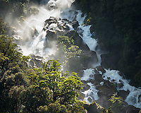 Roaring Billy Falls near Haast, West Coast, South Westland, UNESCO World Heritage Area, New Zealand, NZ