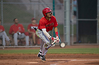 AZL Angels shortstop Jeremiah Jackson (8) starts down the first base line during an Arizona League game against the AZL Giants Black at the San Francisco Giants Baseball Complex on July 1, 2018 in Scottsdale, Arizona. AZL Giants Black defeated the AZL Angels 4-2. (Zachary Lucy/Four Seam Images)