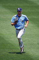 Charlotte Stone Crabs center fielder Thomas Milone (22) jogs to the dugout during a game against the Clearwater Threshers on April 13, 2016 at Bright House Field in Clearwater, Florida.  Charlotte defeated Clearwater 1-0.  (Mike Janes/Four Seam Images)
