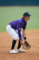 Third baseman Drake Varnado (13) of IMG Academy in Port Neches, TX playing for the Colorado Rockies scout team during the East Coast Pro Showcase at the Hoover Met Complex on August 4, 2020 in Hoover, AL. (Brian Westerholt/Four Seam Images)