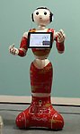 July 21, 2016, Tokyo, Japan - Japanese communication giant Softbank's humanoid robot Pepper interpreter model is displayed at Softbank's two-day convention Softbank World in Tokyo on Thursday, July 21, 2016. Softbank CEO Masayoshi Son delivered a keynote speech at the event after the company announced to acquire British chip maker ARM last week.     (Photo by Yoshio Tsunoda/AFLO) LWX -ytd-