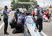 Sep 14, 2019; Mohnton, PA, USA; Crew member for NHRA top fuel driver Antron Brown during qualifying for the Reading Nationals at Maple Grove Raceway. Mandatory Credit: Mark J. Rebilas-USA TODAY Sports
