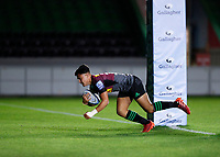 9th September 2020; Twickenham Stoop, London, England; Gallagher Premiership Rugby, London Irish versus Harlequins; Marcus Smith of Harlequins dives on the line with a try