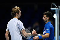 20th November 2020; O2, London;  Alexander Zverev Germany shakes hands with winner Novak Djokovic during the 2020 ATP Finals