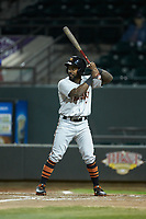 Kirvin Moesquit (7) of the Frederick Keys at bat against the Winston-Salem Dash at BB&T Ballpark on April 26, 2019 in Winston-Salem, North Carolina. The Keys defeated the Warthogs 7-0. (Brian Westerholt/Four Seam Images)